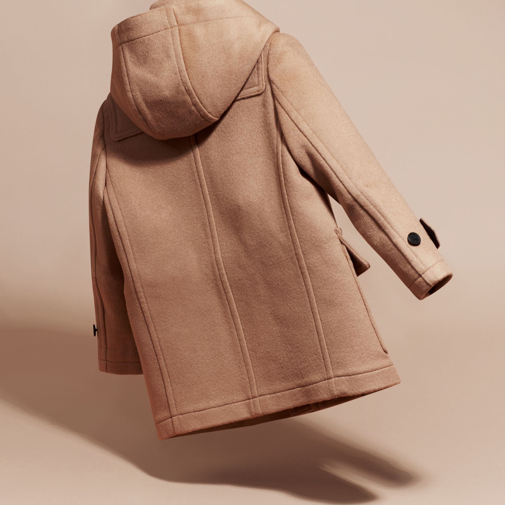 Wool Duffle Coat with Check-lined Hood New Camel - gallery image 4