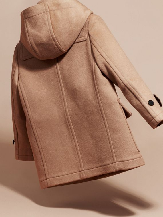 Wool Duffle Coat with Check-lined Hood New Camel - cell image 3