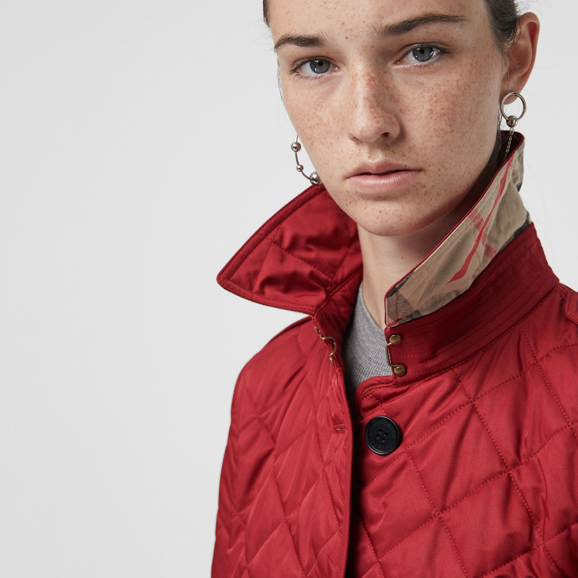 Diamond Quilted Jacket in Parade Red | Burberry - gallery image 1