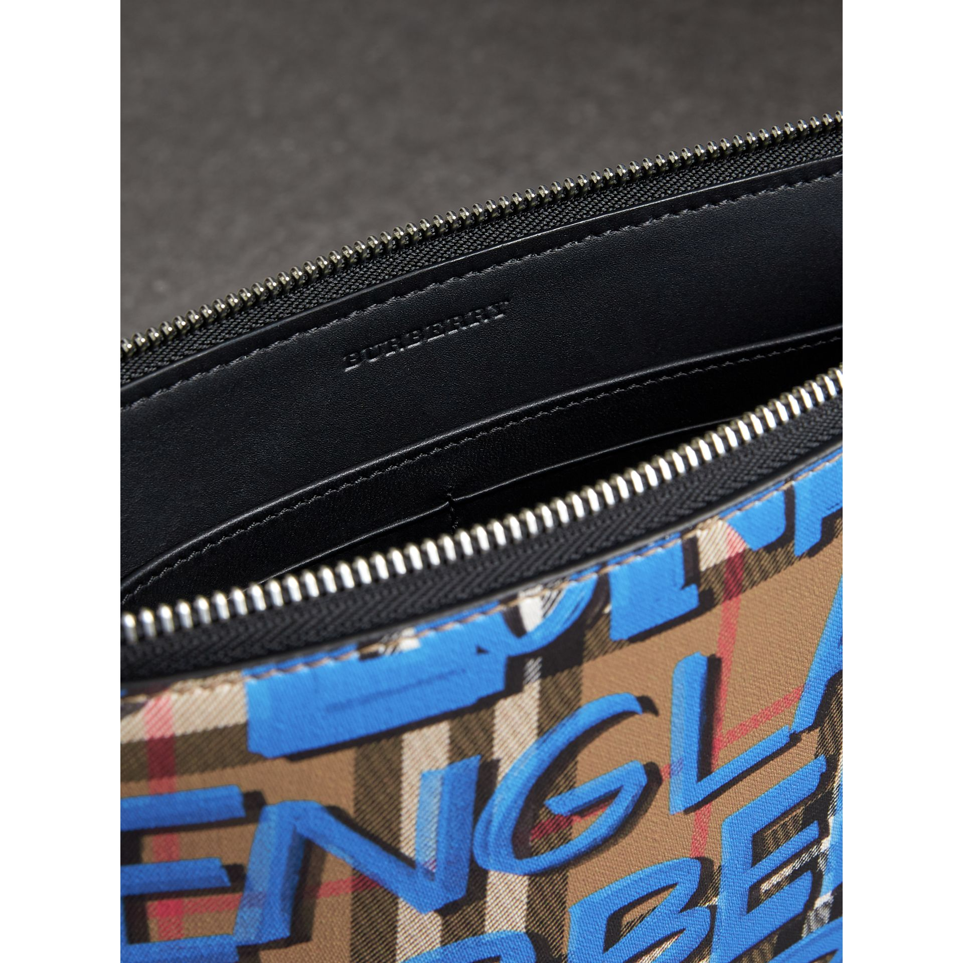 Graffiti Print Vintage Check Leather Zip Pouch in Canvas Blue/antique Yellow | Burberry Australia - gallery image 3