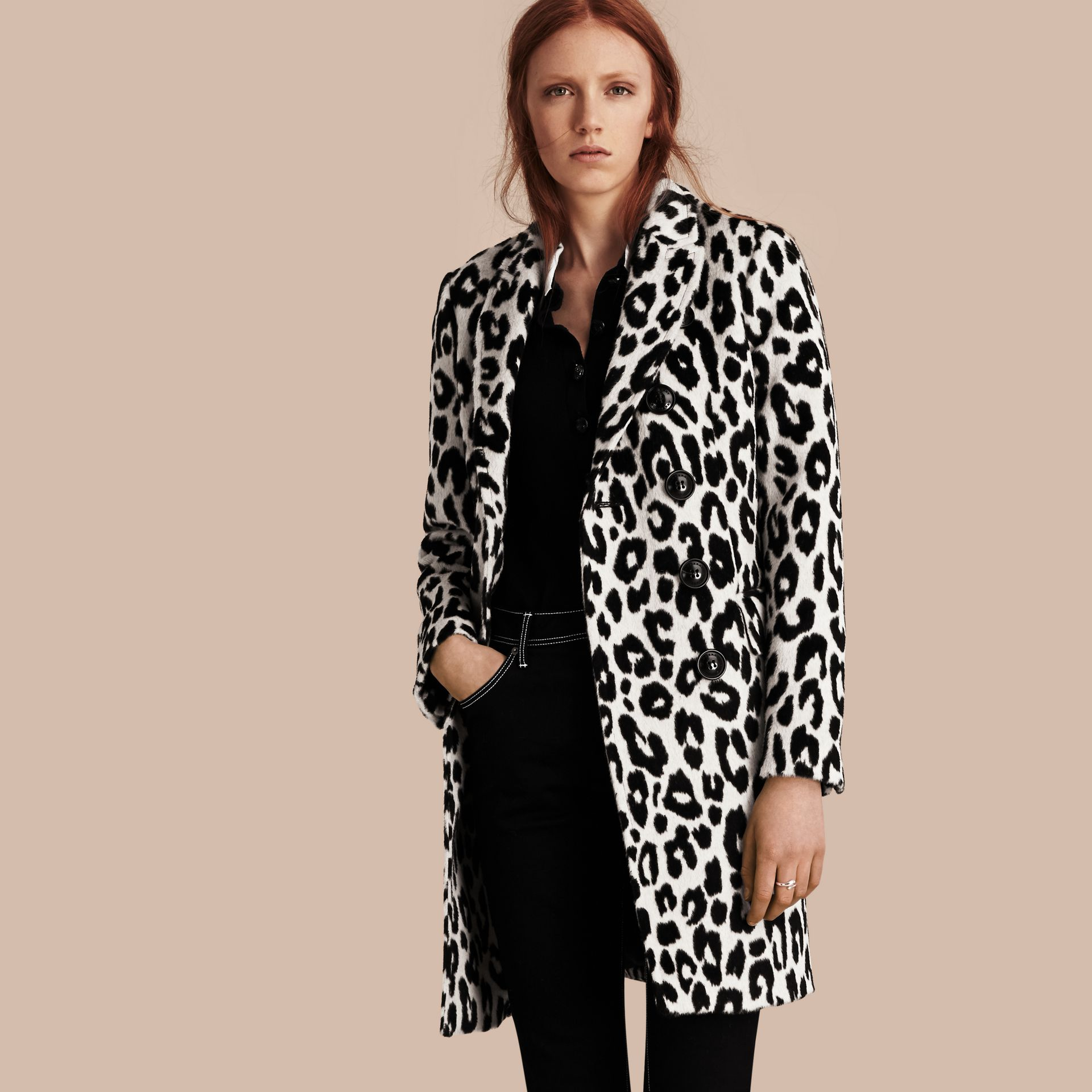 Black/white Leopard Jacquard Lama Wool Coat - gallery image 1