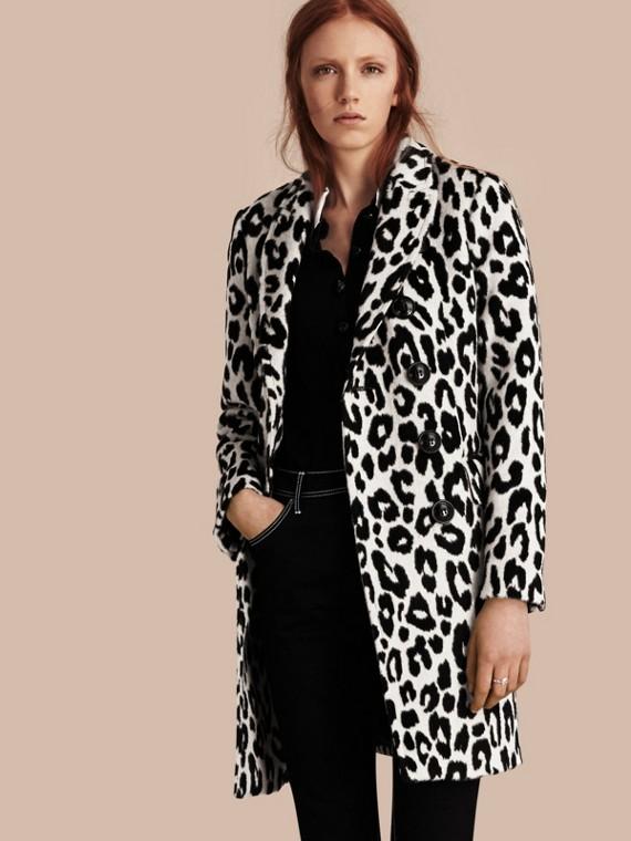 Leopard Jacquard Lama Wool Coat