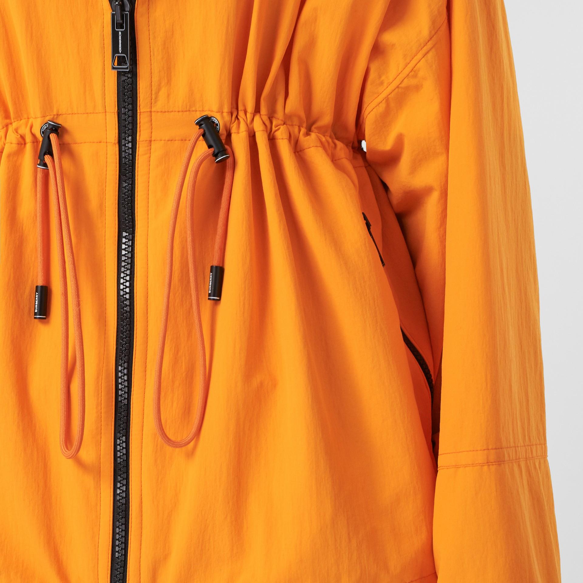 Logo Tape Technical Nylon Hooded Jacket in Bright Orange | Burberry United Kingdom - gallery image 4