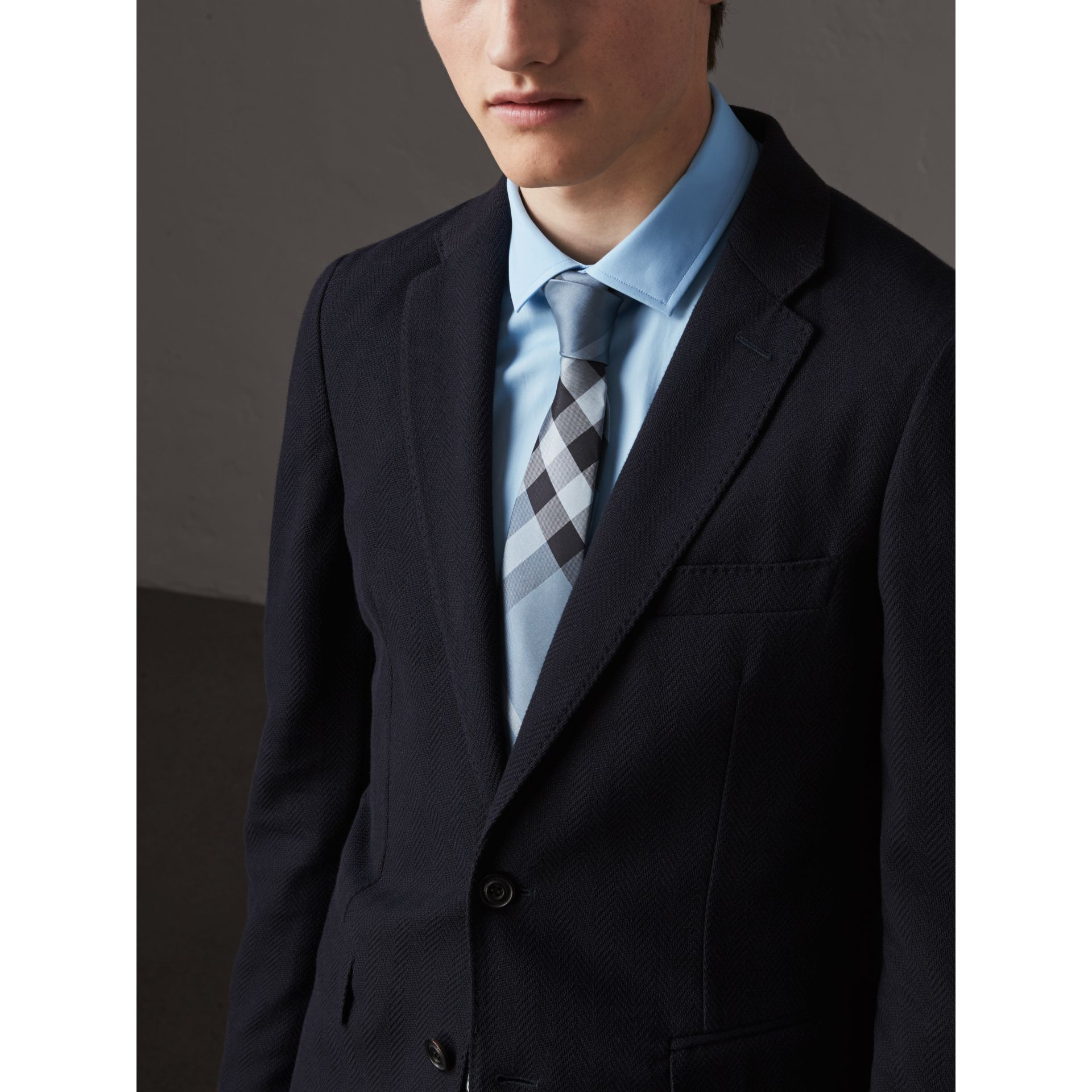 Modern Cut Check Silk Tie in Light Blue - Men | Burberry Australia - gallery image 2