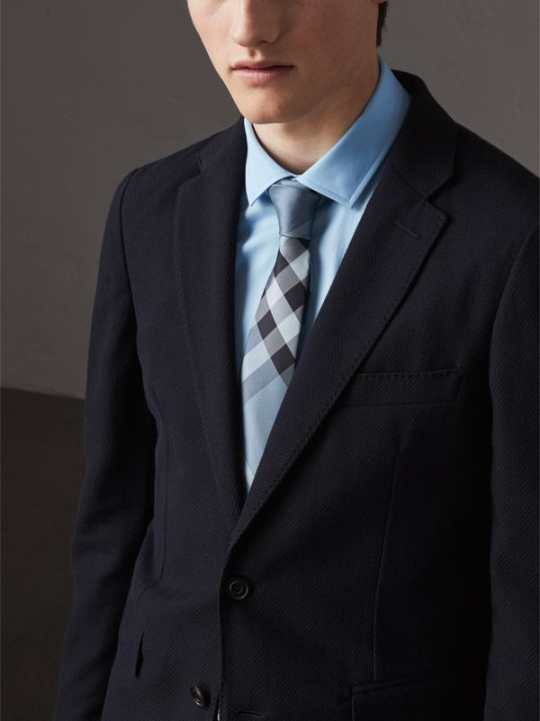 Modern Cut Check Silk Tie in Light Blue - Men | Burberry Singapore - cell image 2