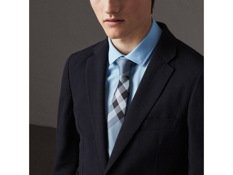 Modern Cut Check Silk Tie in Light Blue - Men | Burberry United Kingdom - cell image 2