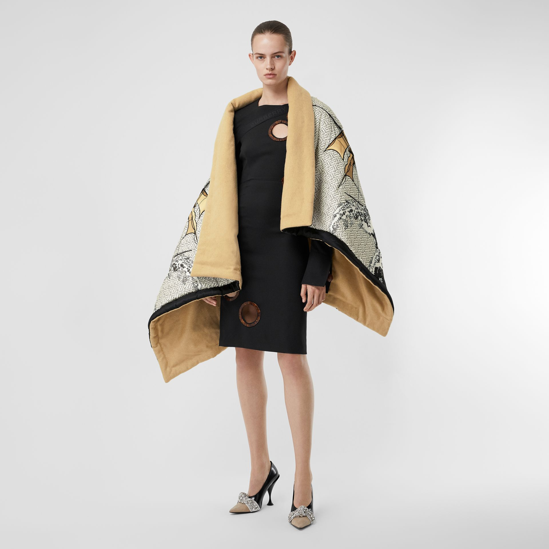 Ship Print Silk Satin Oversized Puffer Cape in White - Women | Burberry - gallery image 0