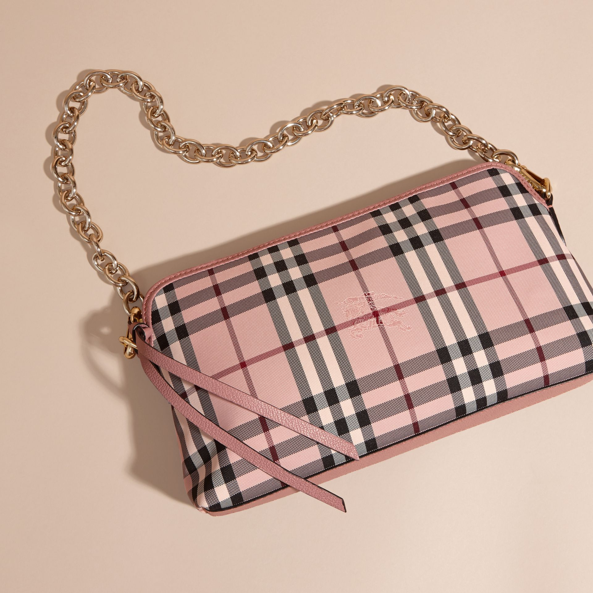 Ash rose/ dusty pink Overdyed Horseferry Check and Leather Clutch Bag - gallery image 8