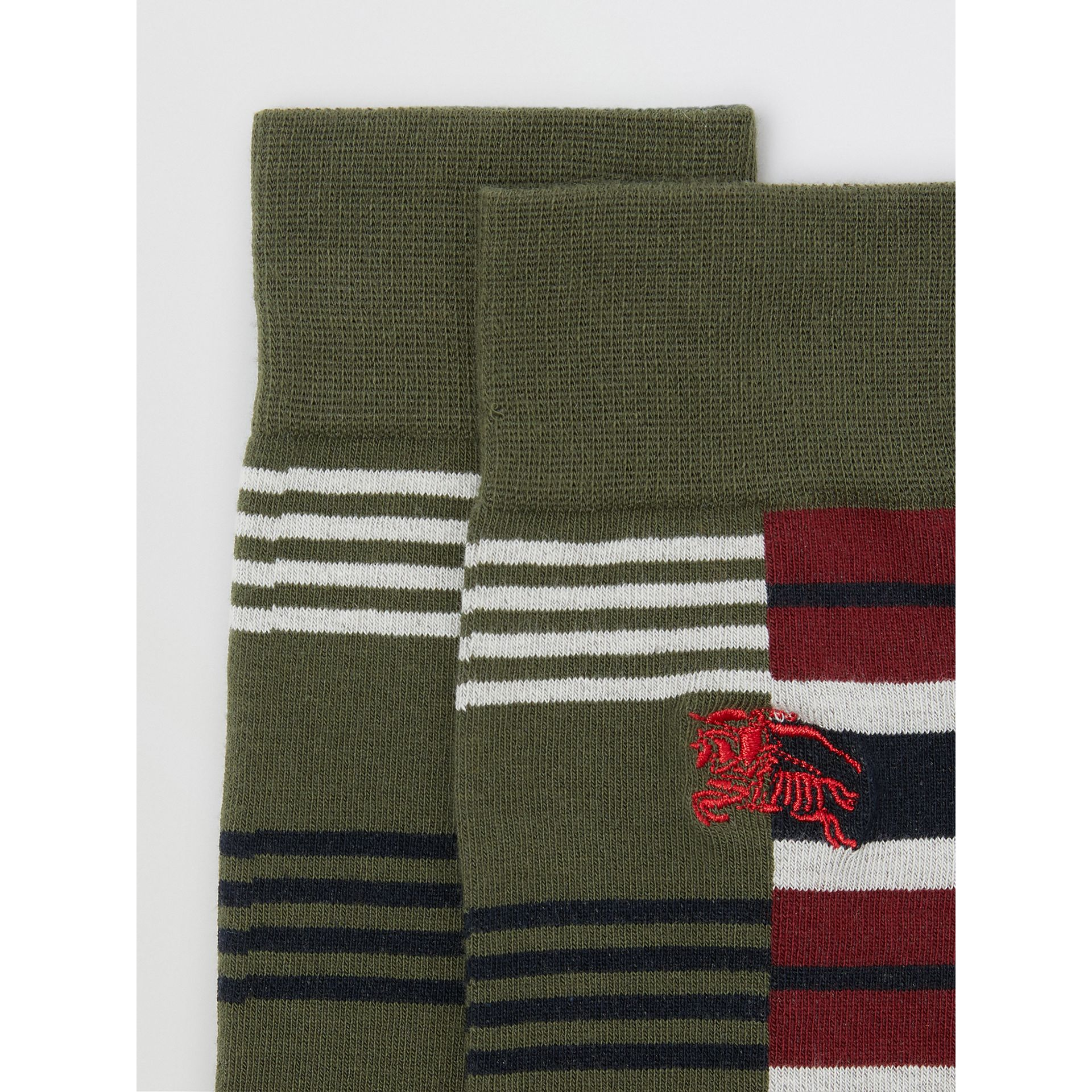 Contrast Stripe Cotton Blend Socks in Dark Olive | Burberry - gallery image 1