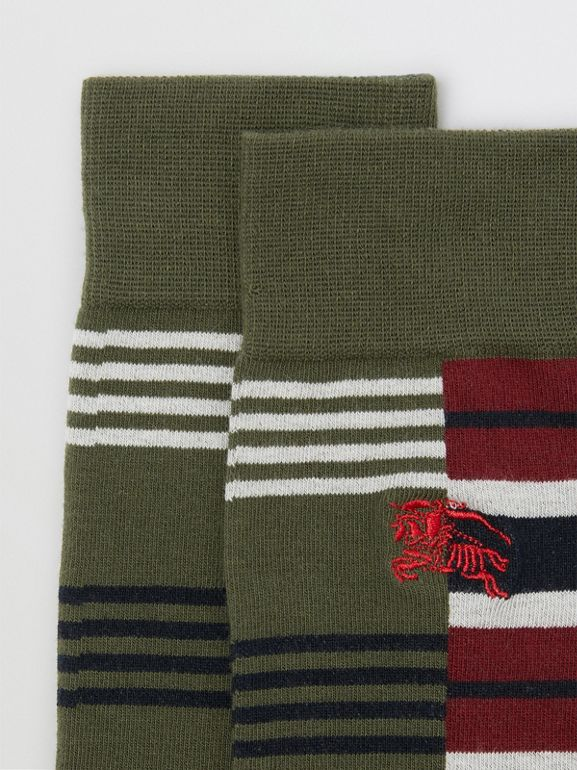 Contrast Stripe Cotton Blend Socks in Dark Olive | Burberry - cell image 1