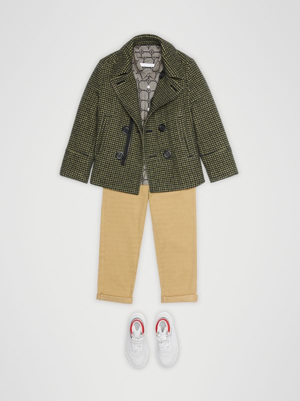 Check Wool Blend Tailored Coat in Grass Green | Burberry United Kingdom - cell image 2