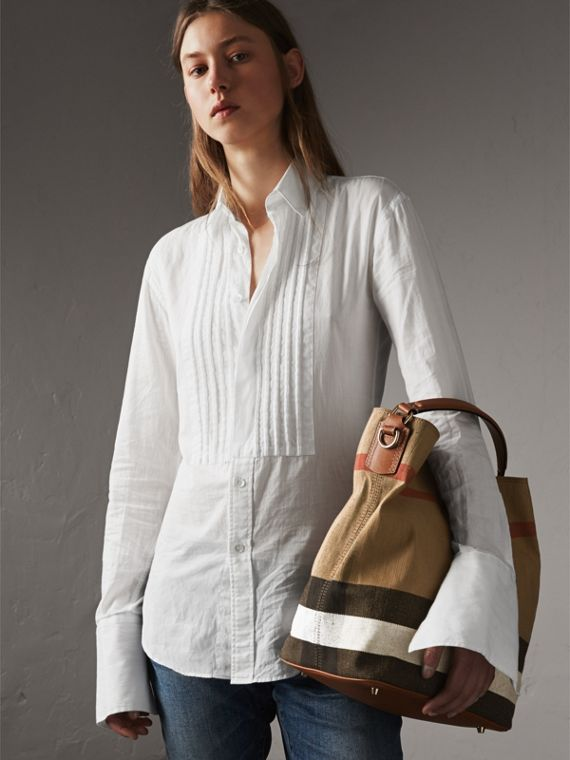Medium Canvas Check Hobo Bag in Saddle Brown - Women | Burberry - cell image 2