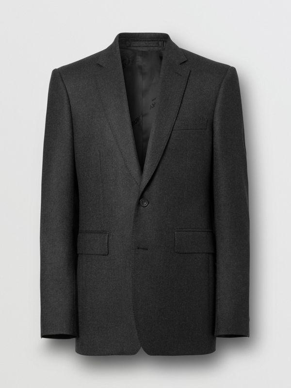 Classic Fit Wool Flannel Tailored Jacket in Charcoal - Men | Burberry - cell image 3