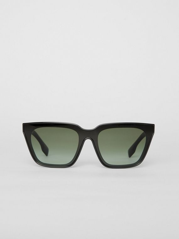 Square Frame Shield Sunglasses in Black