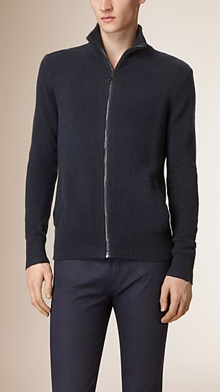 Zip Front Cashmere Cardigan
