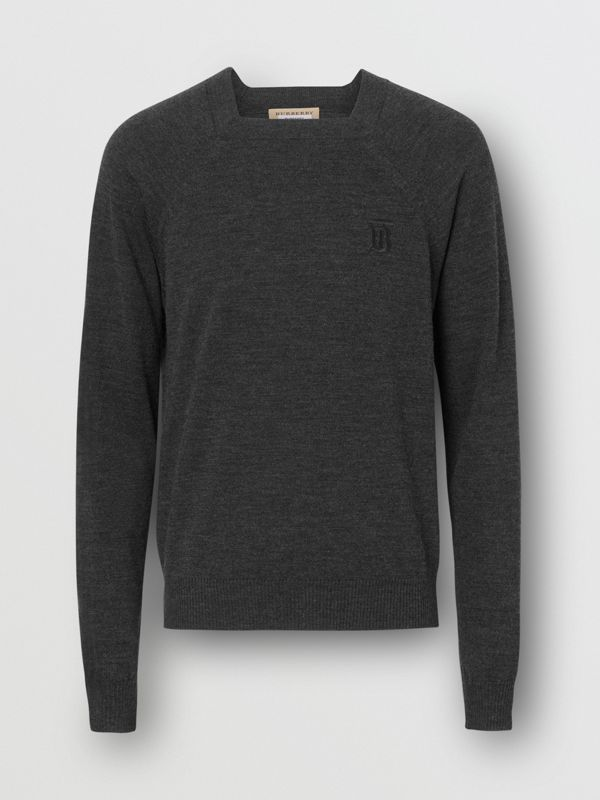 Monogram Motif Wool Silk Sweater in Dark Grey | Burberry - cell image 3