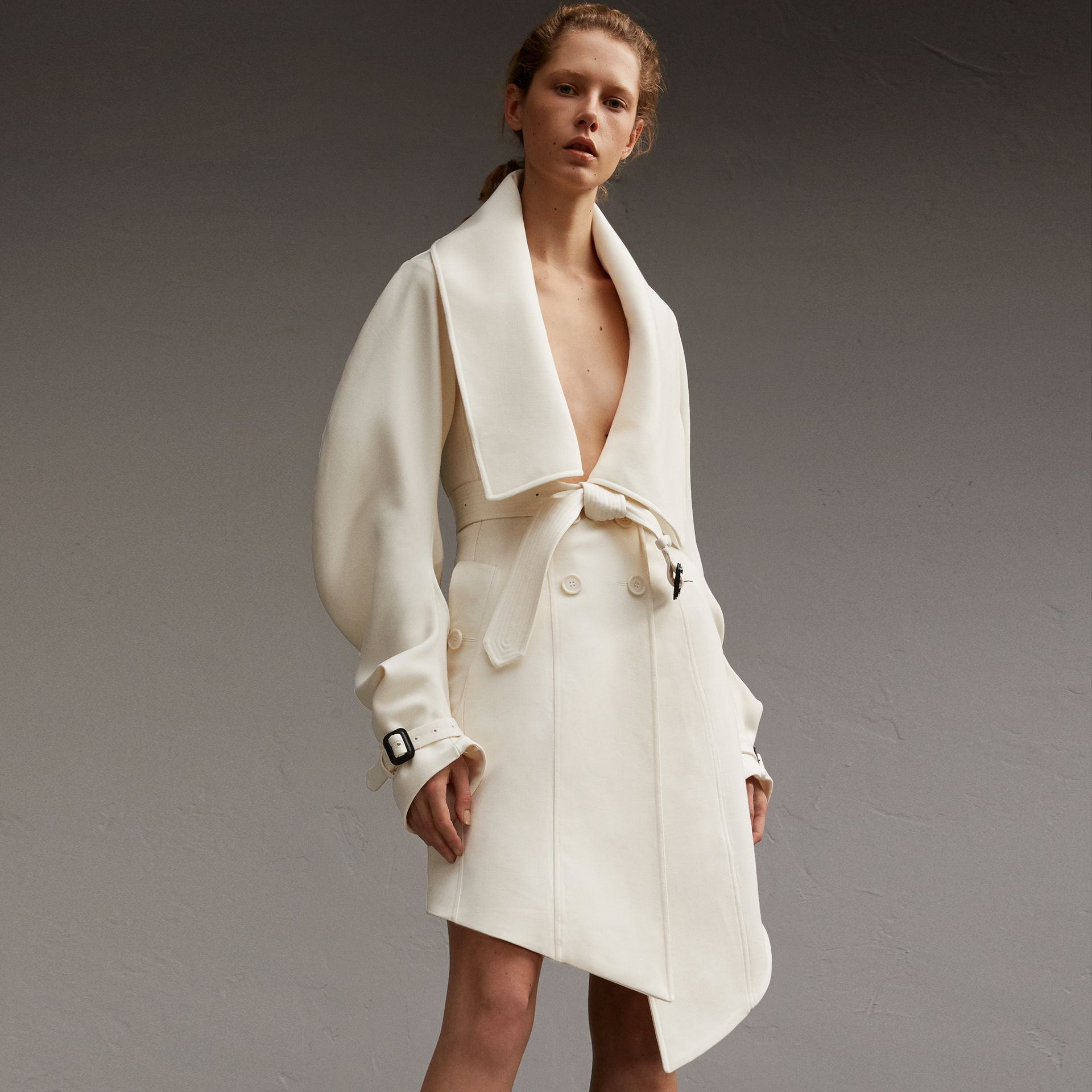 Lightweight Double-faced Wool Twill Asymmetric Coat - gallery image 1