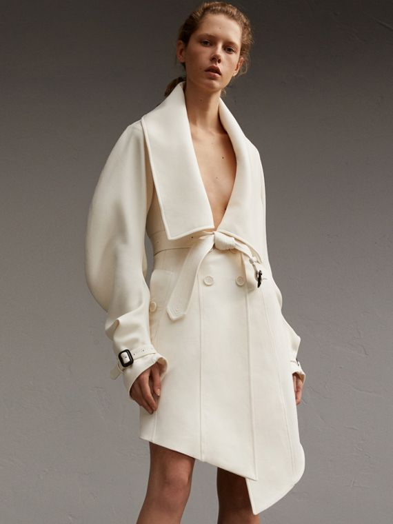 Lightweight Double-faced Wool Twill Asymmetric Coat - Women | Burberry Canada