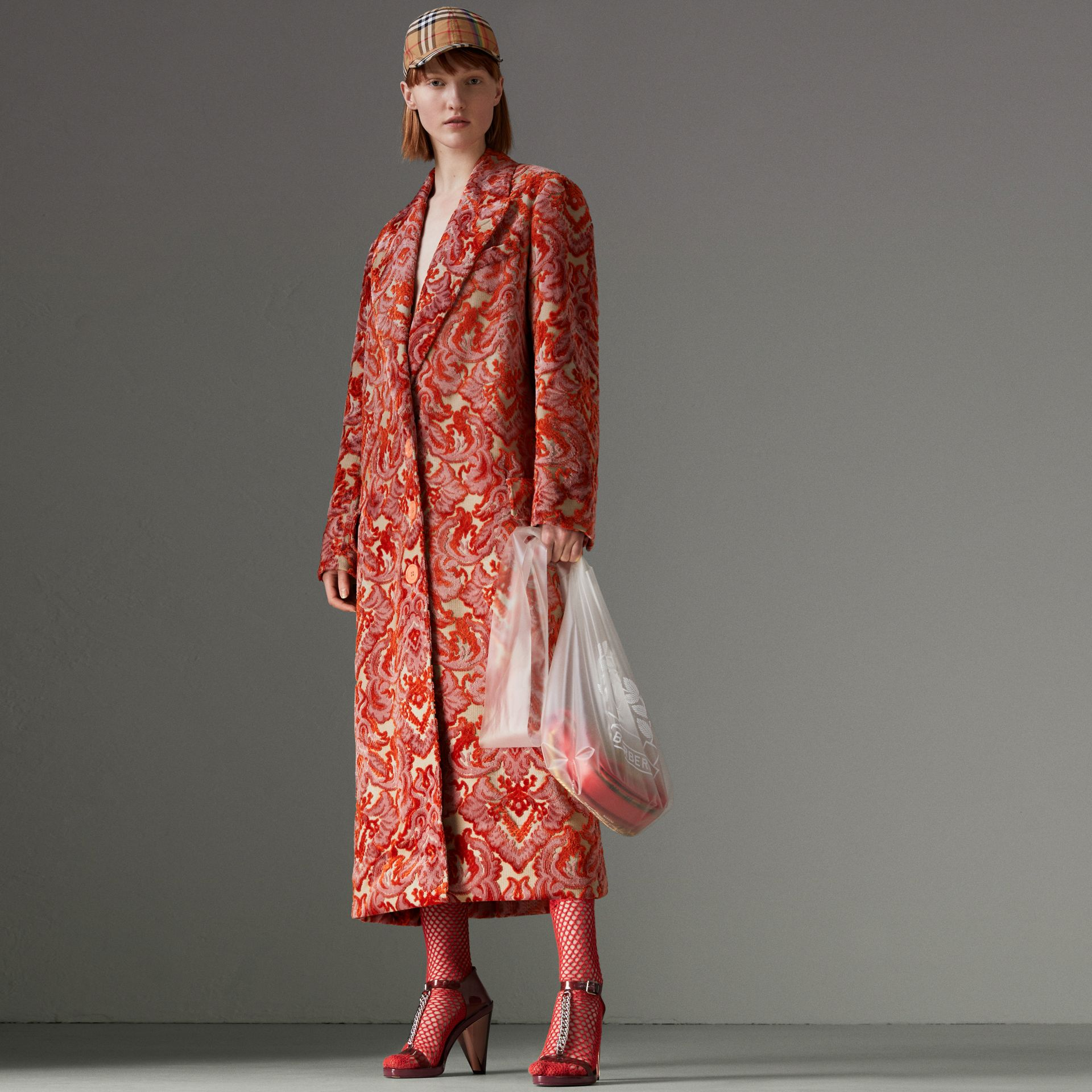 Damask Velvet Jacquard Tailored Coat in Rose Pink - Women | Burberry - gallery image 0