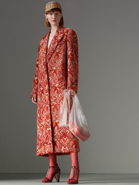 Damask Velvet Jacquard Tailored Coat in Rose Pink