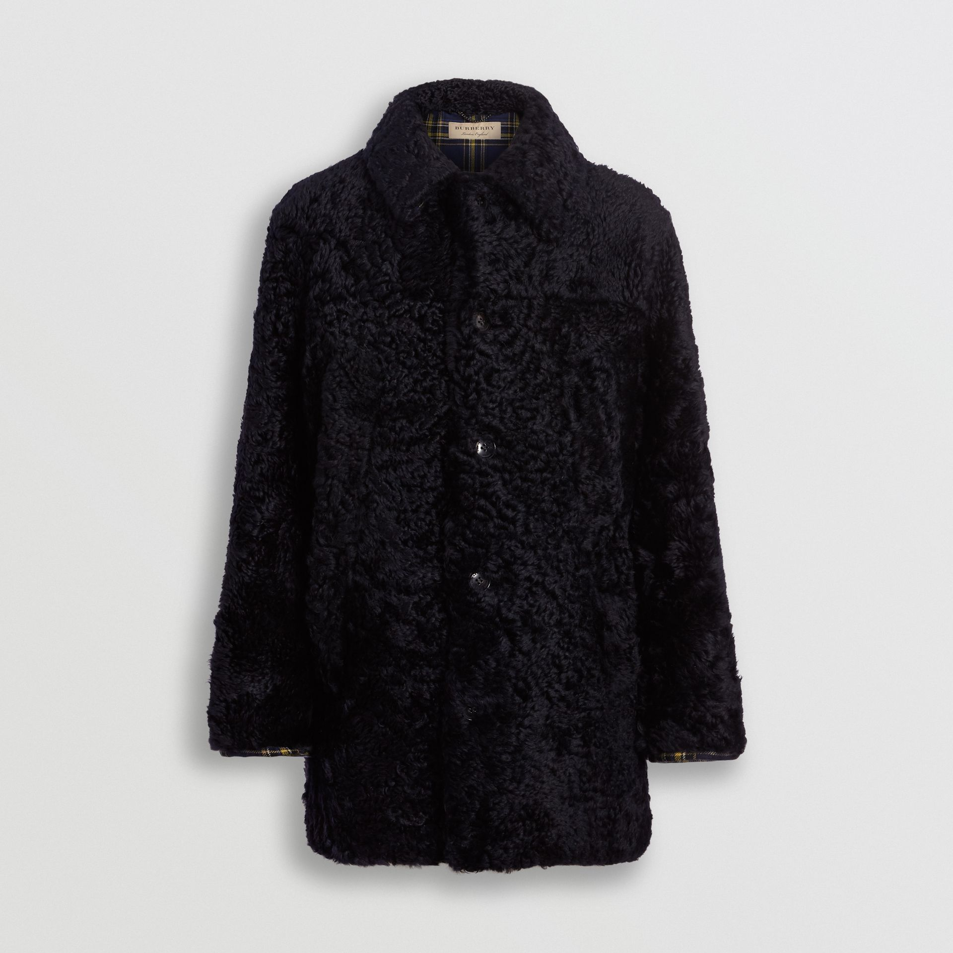Curly Shearling Coat in Navy - Men | Burberry - gallery image 3