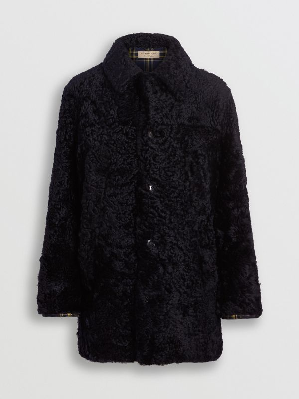 Curly Shearling Coat in Navy - Men | Burberry - cell image 3