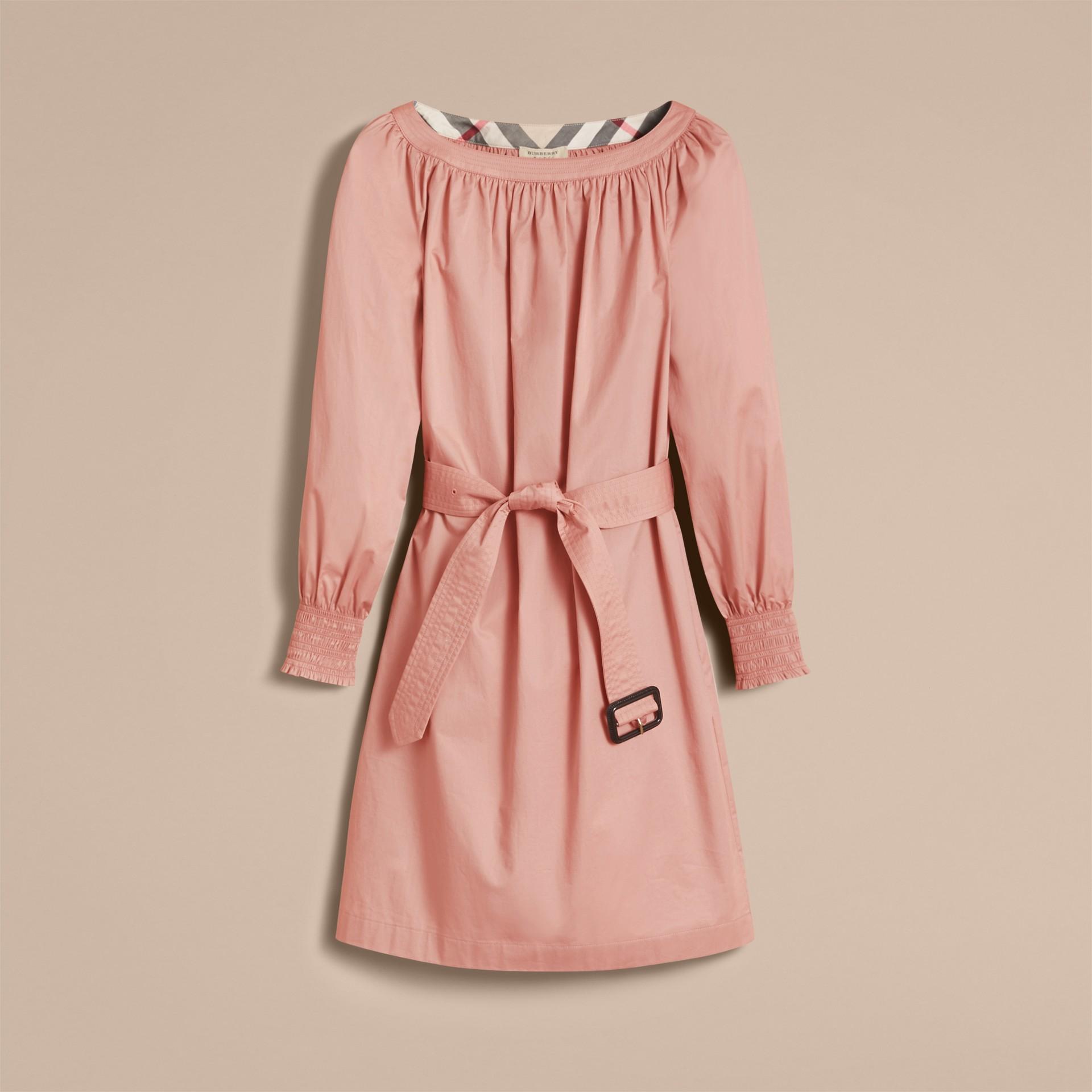 Smocked Cuff Stretch Cotton Dress - gallery image 4