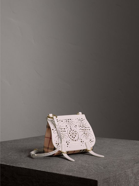 The Baby Bridle Bag in Leather and Haymarket Check in Natural
