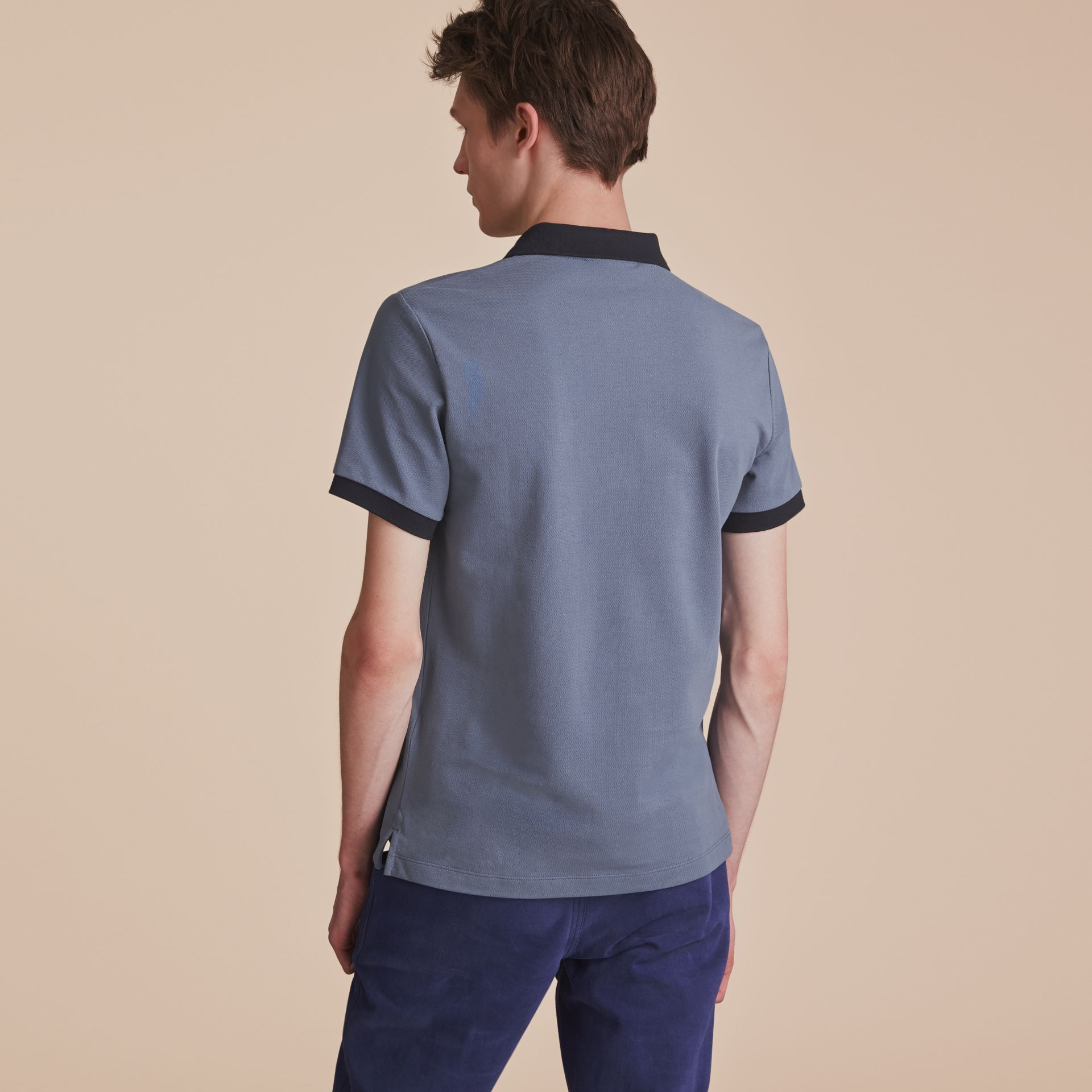 Two-tone Check Placket Cotton Piqué Polo Shirt in Stone Blue - Men | Burberry - gallery image 3