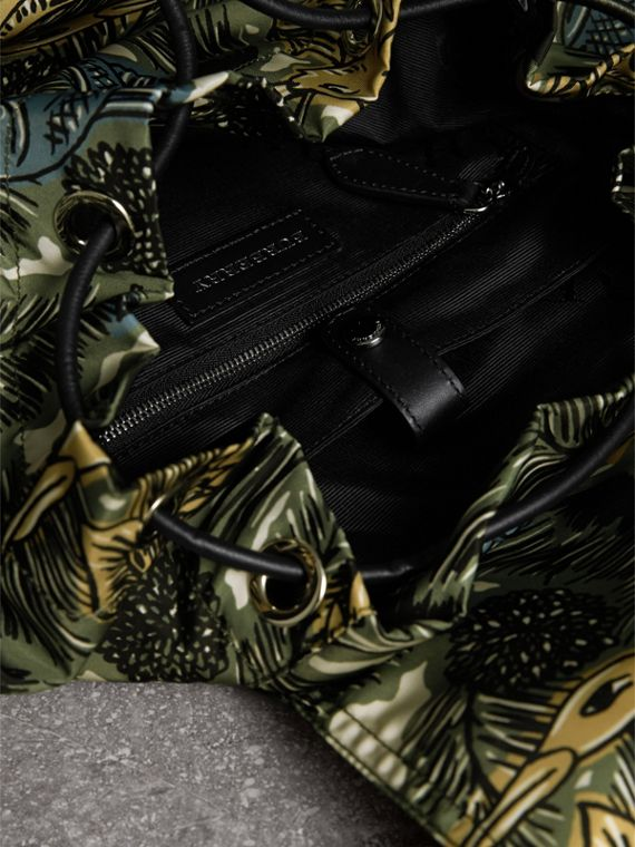The Large Rucksack in Beasts Print Nylon and Leather in Sage Green - Men | Burberry - cell image 3