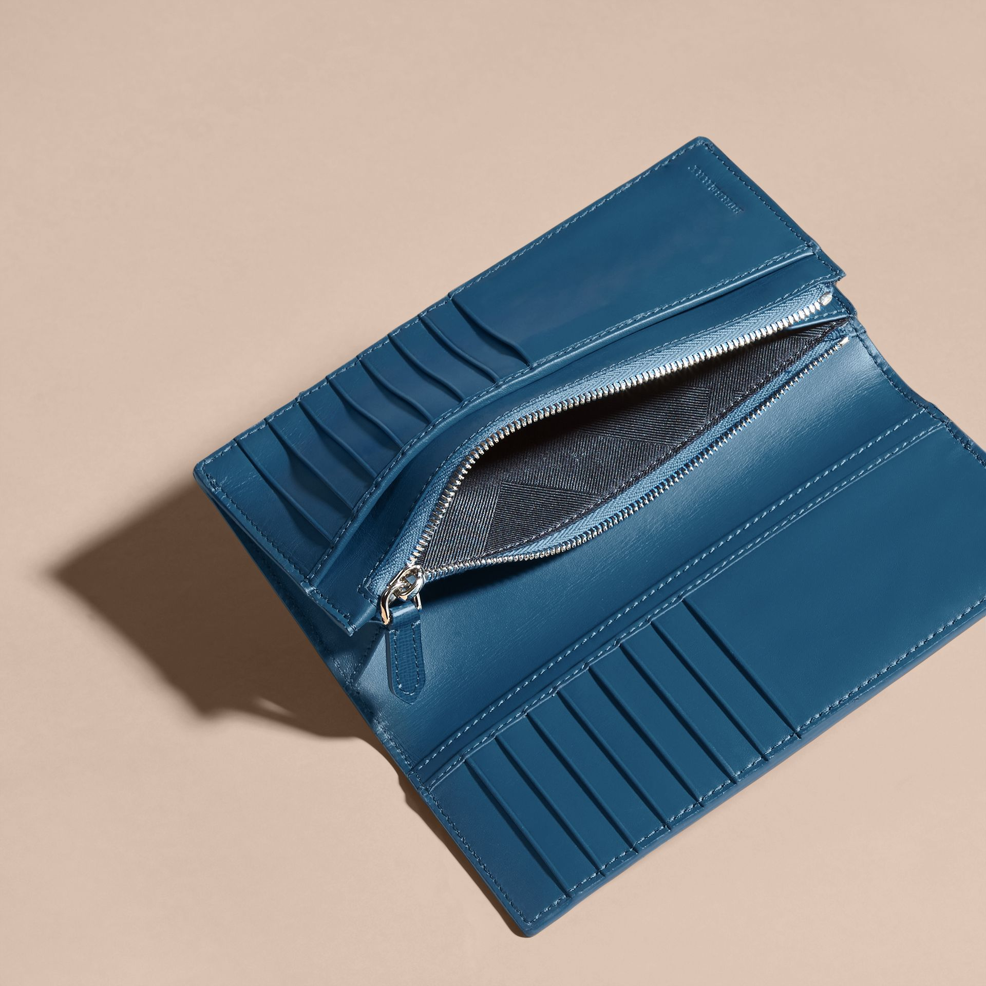 London Leather Continental Wallet in Mineral Blue - gallery image 6