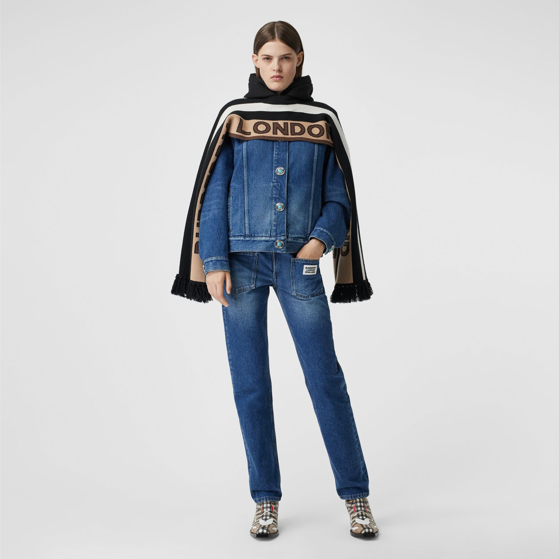 Straight Fit Logo Detail Reconstructed Jeans in Indigo - Women | Burberry United Kingdom - gallery image 0
