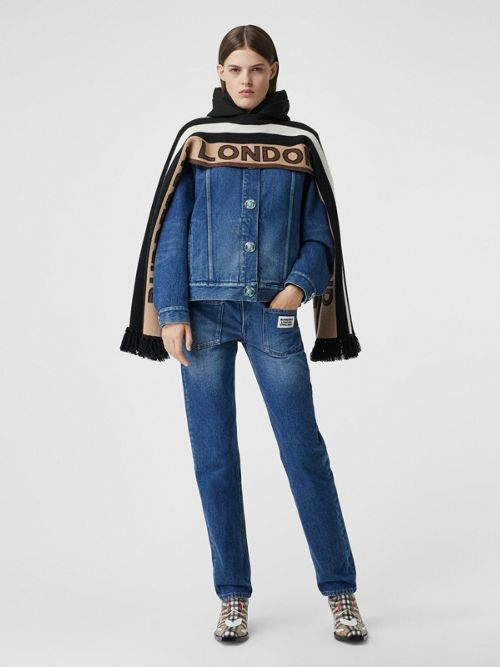 Burberry Jeans STRAIGHT FIT LOGO DETAIL RECONSTRUCTED JEANS