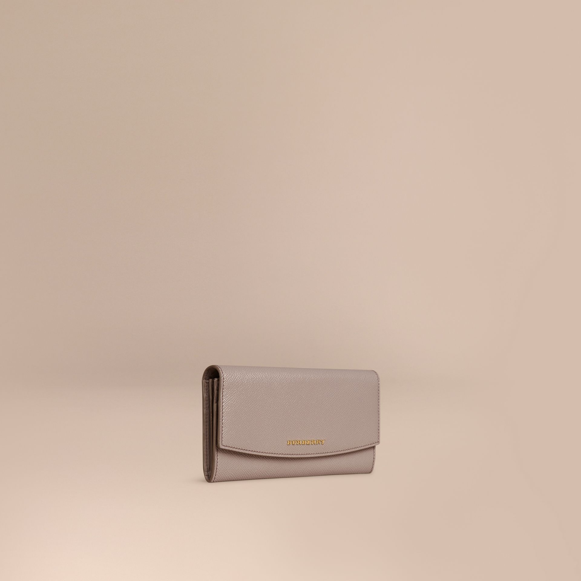 Pale grey Patent London Leather Continental Wallet Pale Grey - gallery image 1