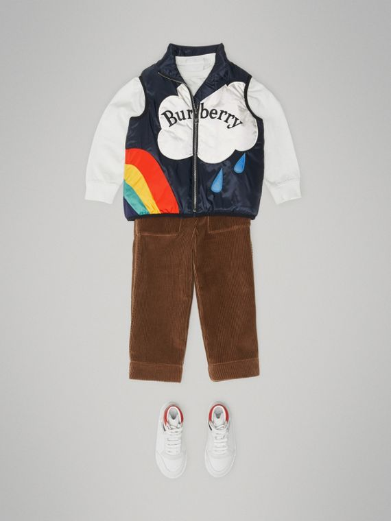 Rainbow Graphic Showerproof Down-filled Gilet in Midnight