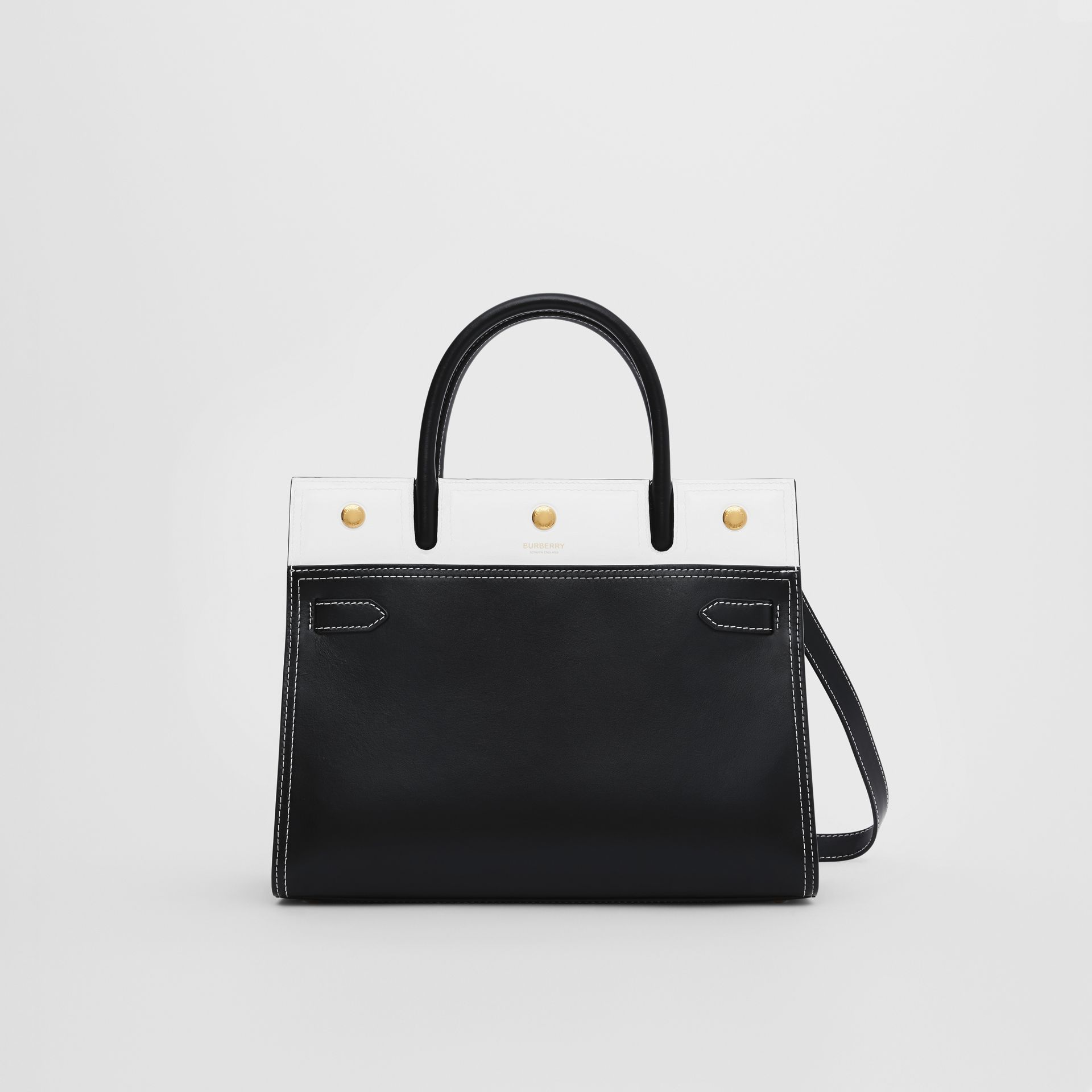 Small Leather Two-handle Title Bag in Black/white - Women | Burberry - gallery image 0