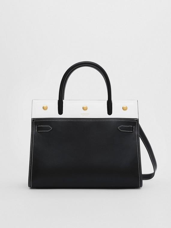 Petit sac Title en cuir à double poignée (Noir/blanc)