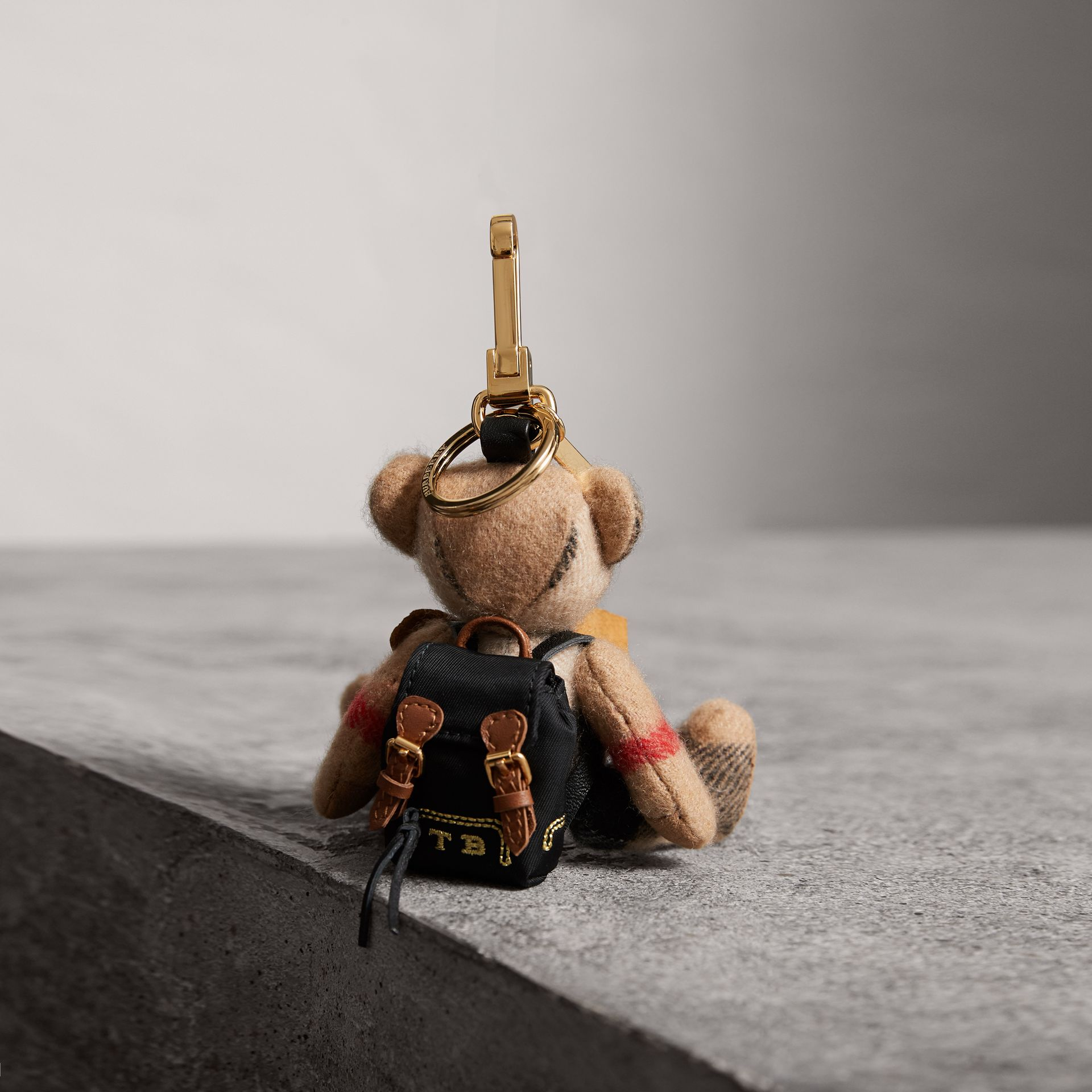 Thomas Bear Charm with Rucksack in Camel | Burberry United States - gallery image 0