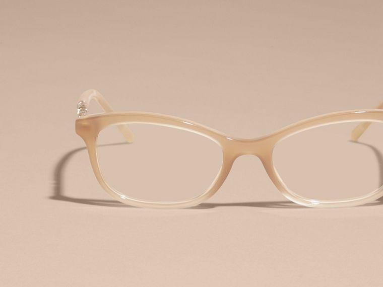 Check Detail Oval Optical Frames Chino Grey - cell image 4