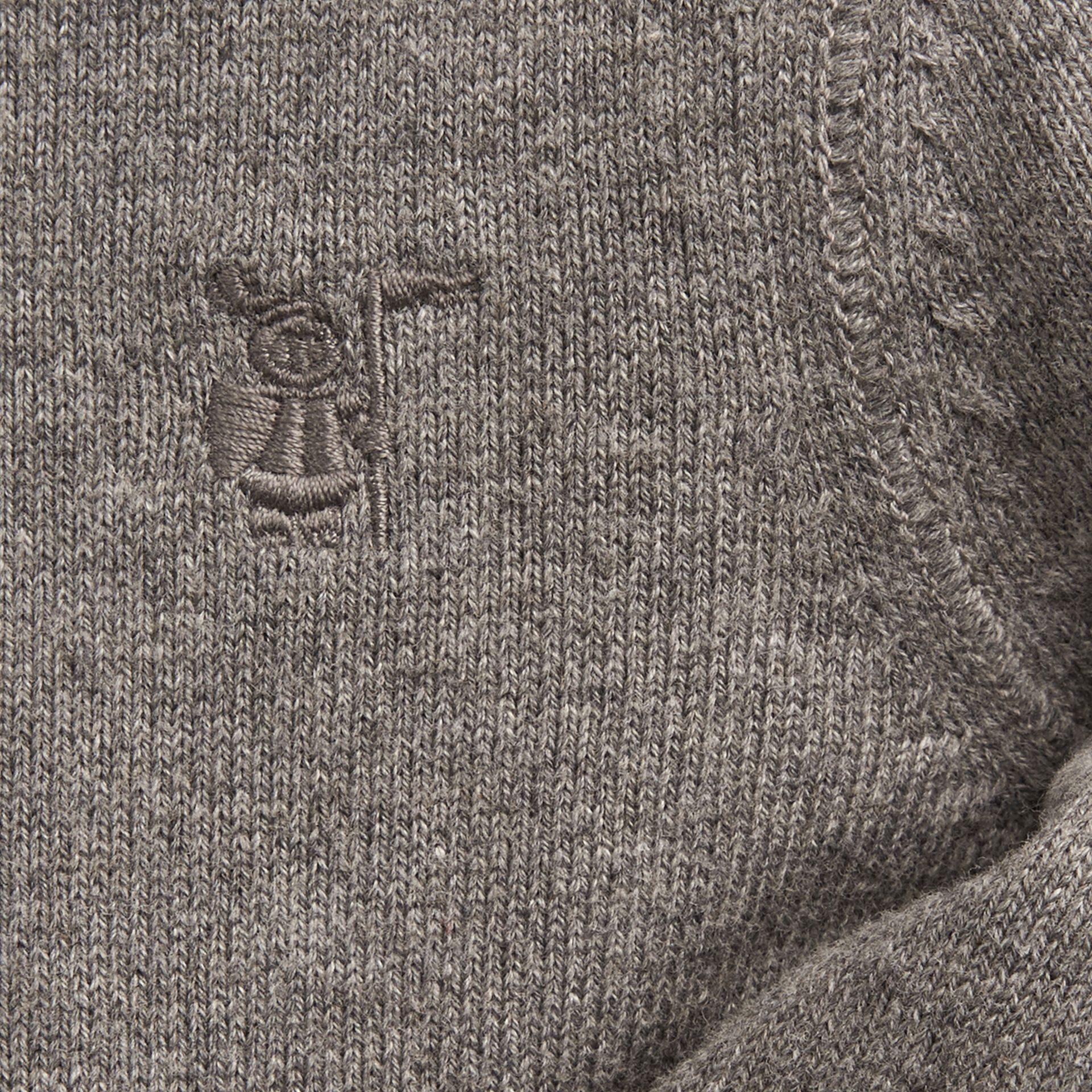 Check Detail Cotton Cardigan Mid Grey Melange - gallery image 2