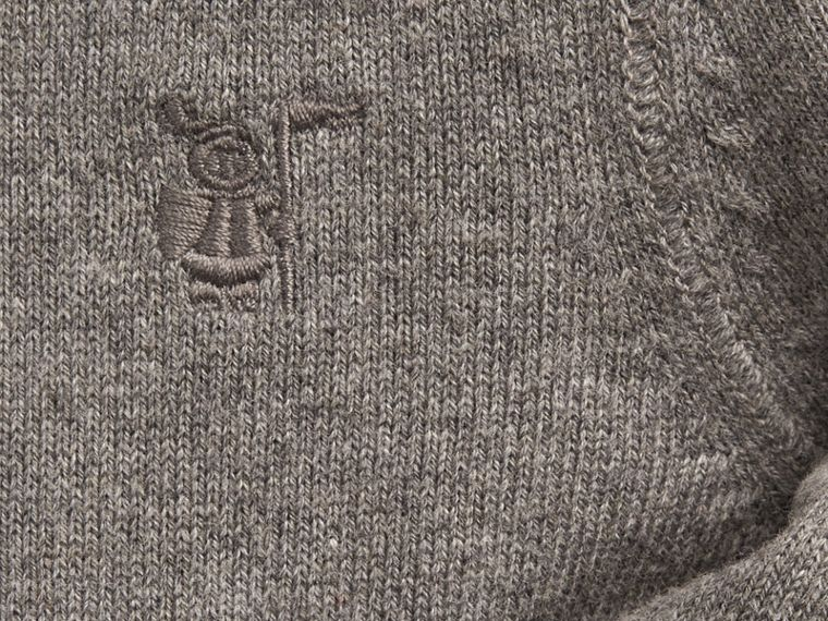Check Detail Cotton Cardigan Mid Grey Melange - cell image 1