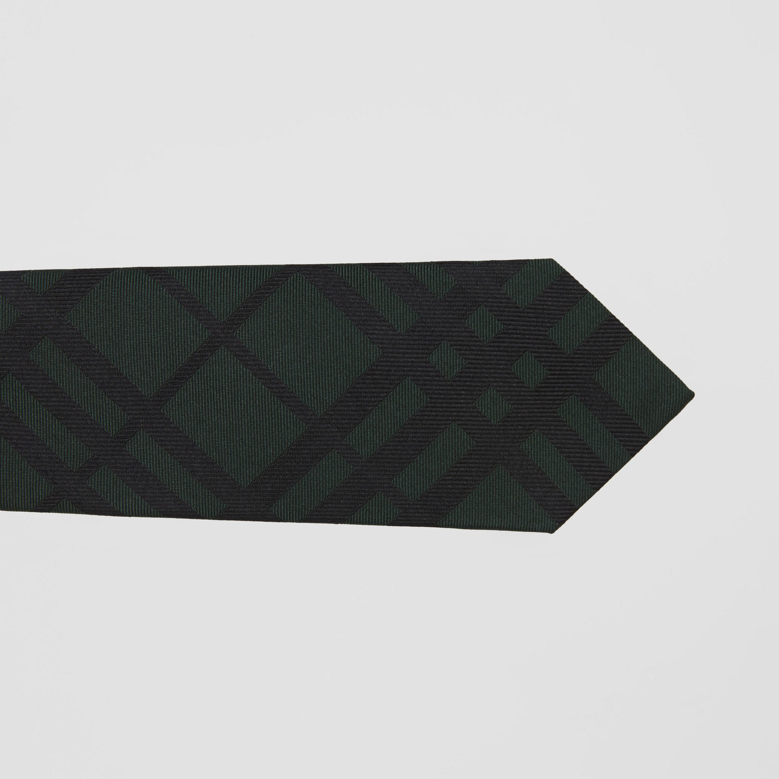 Classic Cut Check Silk Jacquard Tie in Dark Forest Green - Men | Burberry - 2