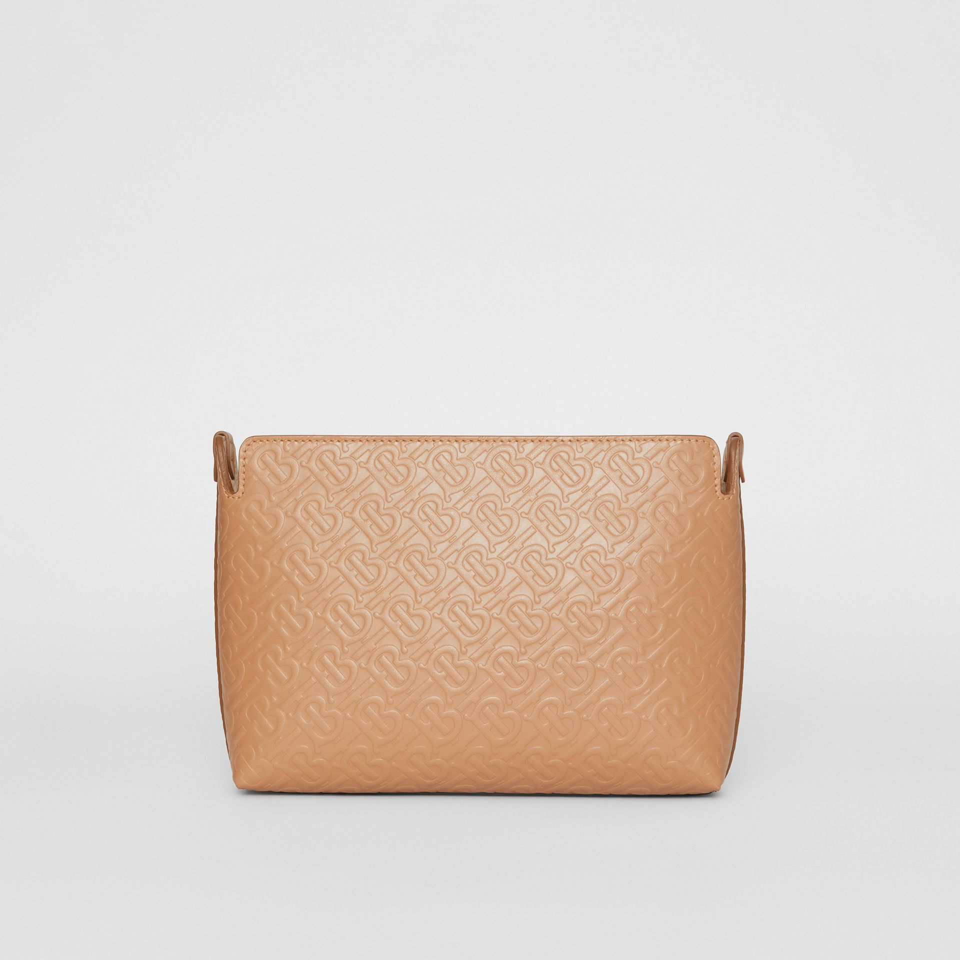 Medium Monogram Leather Clutch in Light Camel - Women | Burberry United States - gallery image 6