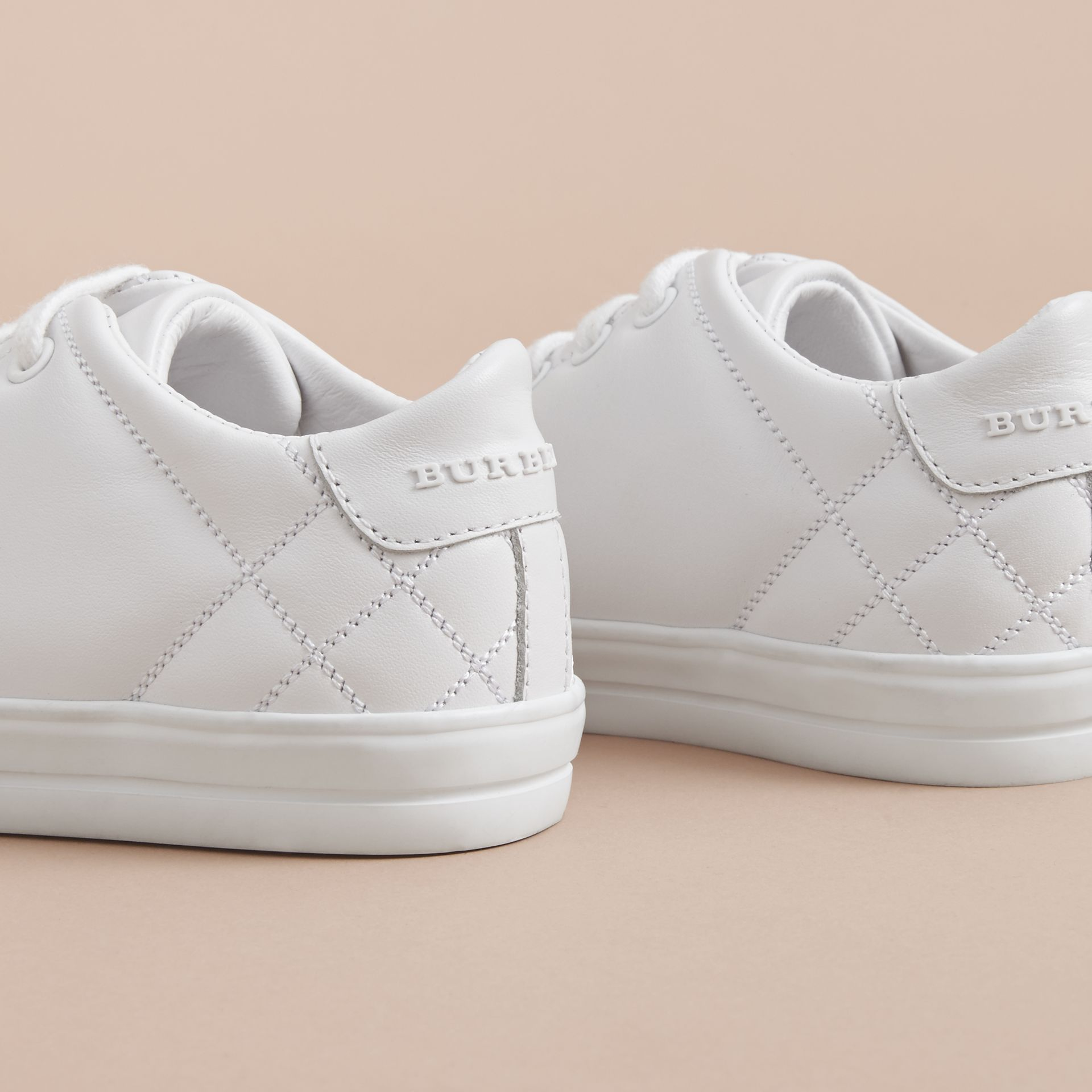 Check Detail Leather Trainers in Optic White | Burberry - gallery image 4