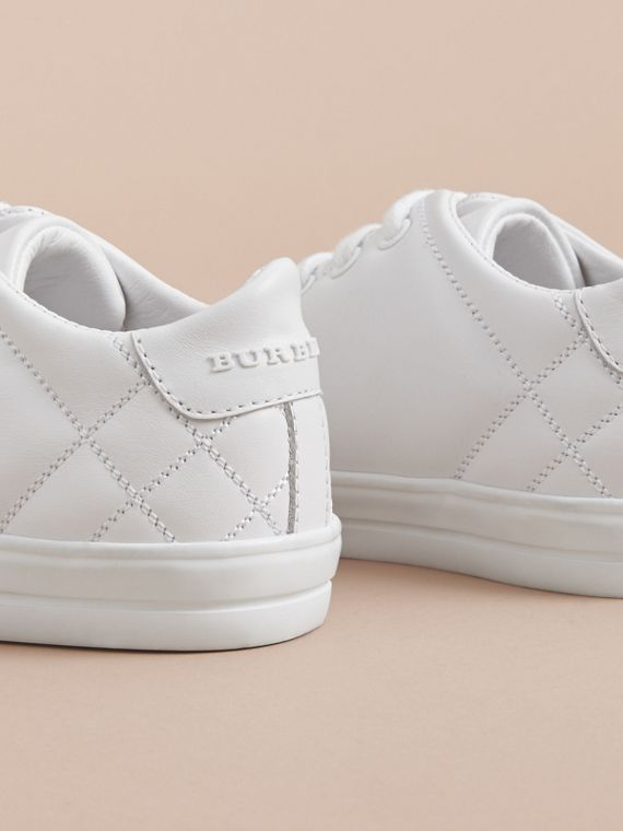 Check Detail Leather Trainers in Optic White | Burberry - cell image 3