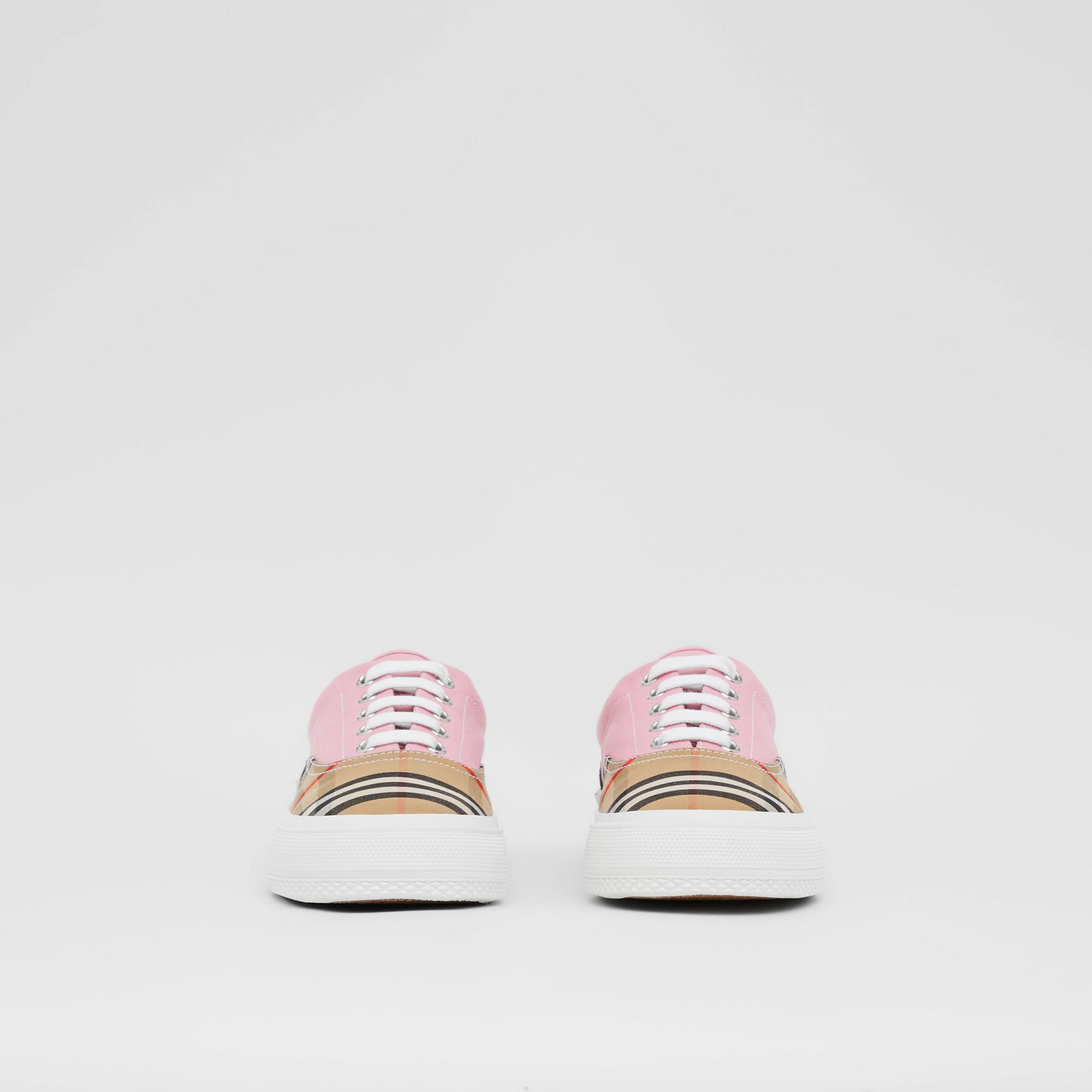 Vintage Check, Cotton Canvas and Suede Sneakers in Archive Beige/pink - Women | Burberry - gallery image 3