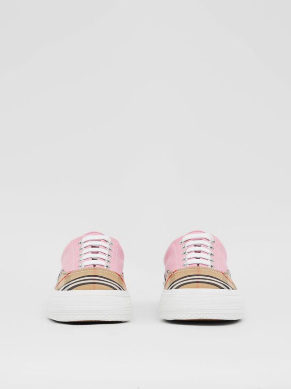 Vintage Check, Cotton Canvas and Suede Sneakers in Archive Beige/pink - Women | Burberry Hong Kong S.A.R - cell image 3