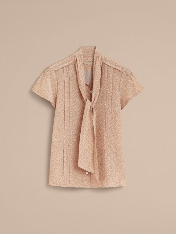 Tie Neck Floral Print Silk Shirt - Women | Burberry - cell image 3