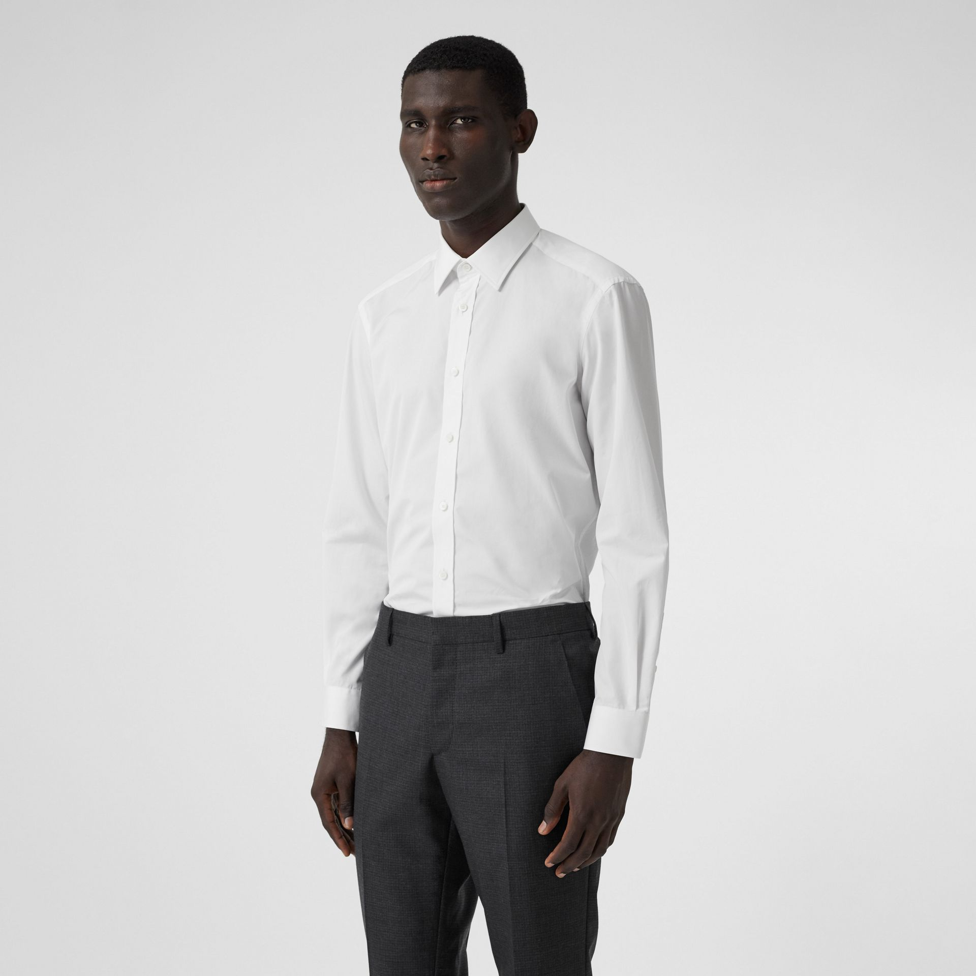 Classic Fit Monogram Motif Cotton Poplin Shirt in White - Men | Burberry United Kingdom - gallery image 3