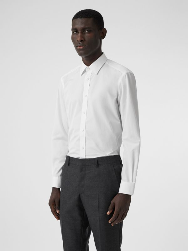 Classic Fit Monogram Motif Cotton Poplin Shirt in White - Men | Burberry United Kingdom - cell image 3